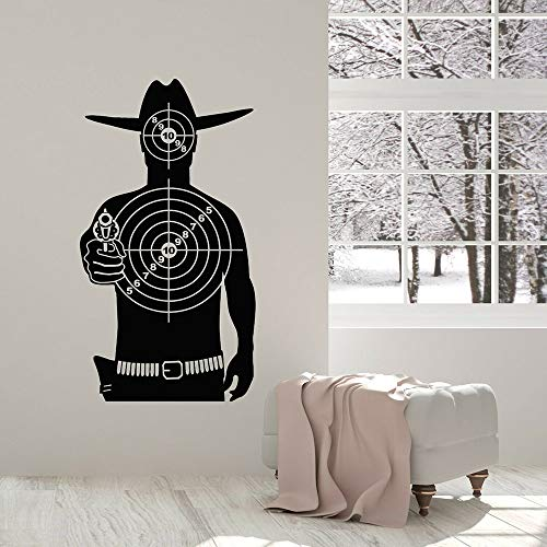 Target vinyl muur sticker speelkamer schietbaan cowboy shootout spel sport muursticker woonkamer tiener kamer decoratie <> 58x107cm