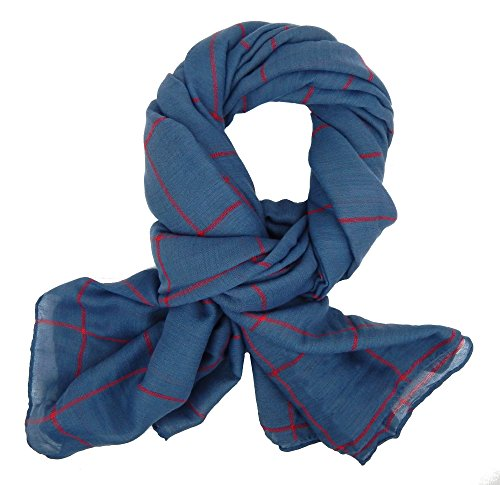 Ella Jonte Écharpes foulard d'homme élégant et tendance de la dernière collection by Classic-Line bleu avec rayure rouge - léger et très agréable à po