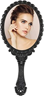 Tinland Hand Mirror with Handle Vintage Personal Vanity Makeup Handheld Mirror Compact Travel 9.8x4.5in(Black)