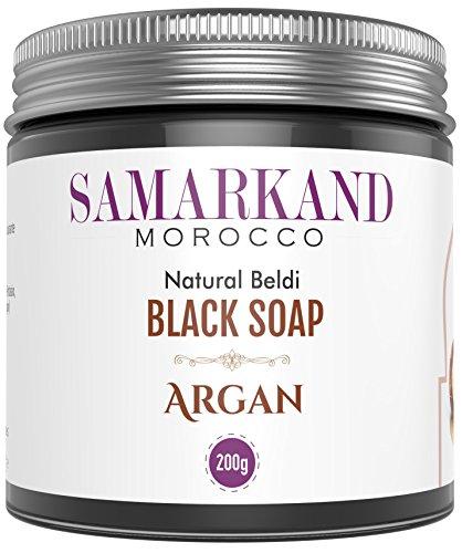 Savon Noir Marocain à l'Huile d'Argan BIO 100% Pure pour Hammam Naturel Beldi - Gommage au Savon noir traditionnel - L'original du Maroc 200 g
