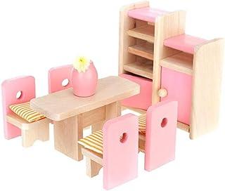Dollhouse Sets à Manger Chambre, Mini Salle à Manger Modèle Chambre Accessoires Dollhouse Meubles Set Table Vase Chaise Un...