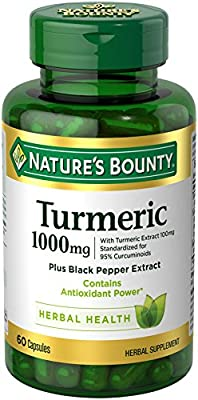 Nature's Bounty Turmeric Pills and Herbal Health Supplement, Supports Joint Pain Relief and Antioxidant Health, 1000mg, 60 Capsules by NBTY.inc - US Nutrition,inc.
