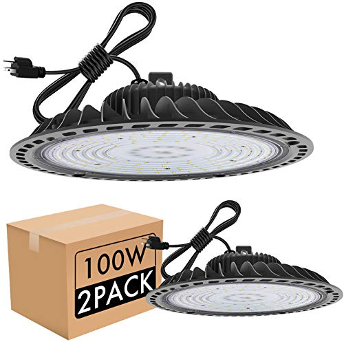 bulbeats 2 Pack UFO LED High Bay Light, 100W, 12000lm (Eqv.400W MH/HPS) high Bay LED Lights,Non-Dim,5000K, 5' cable with US plug, IP65 Waterproof, Commercial Warehouse/Workshop/Wet Location Area Light