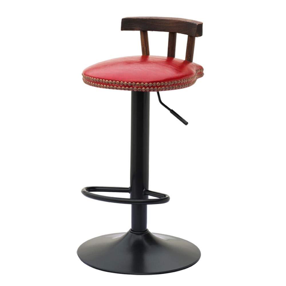 UNHO 2 Sgabello da bar industriale comoda seduta in legno e metallo sedia da bar girevole con schienale e poggiapiedi regolabile in altezza di 60-80 cm design alto