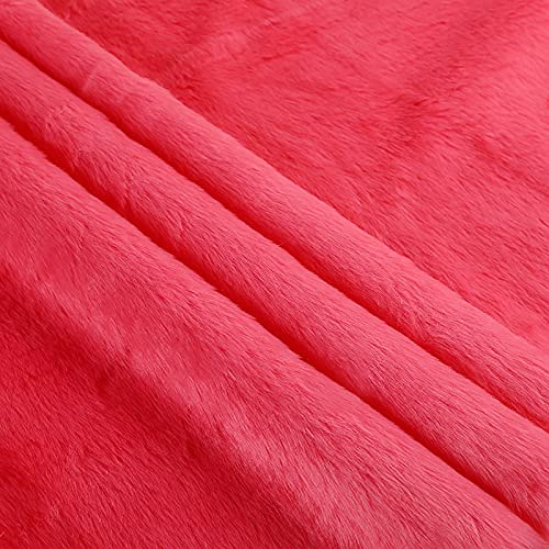 Calidad Tela de Felpa Espesar Tela de Piel sinttica Linda Tela Tela mullida La Longitud del Pelo es de 2cm,Muy Suave y fcil de Usar. 180cm*50cm(Color:Melon Rojo)