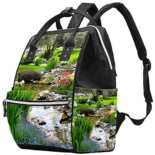 WJJSXKA Mochilas Bolsa de pañales Laptop Notebook Mochila de Viaje Senderismo Mochila para Mujeres Hombres - estanque de jardín