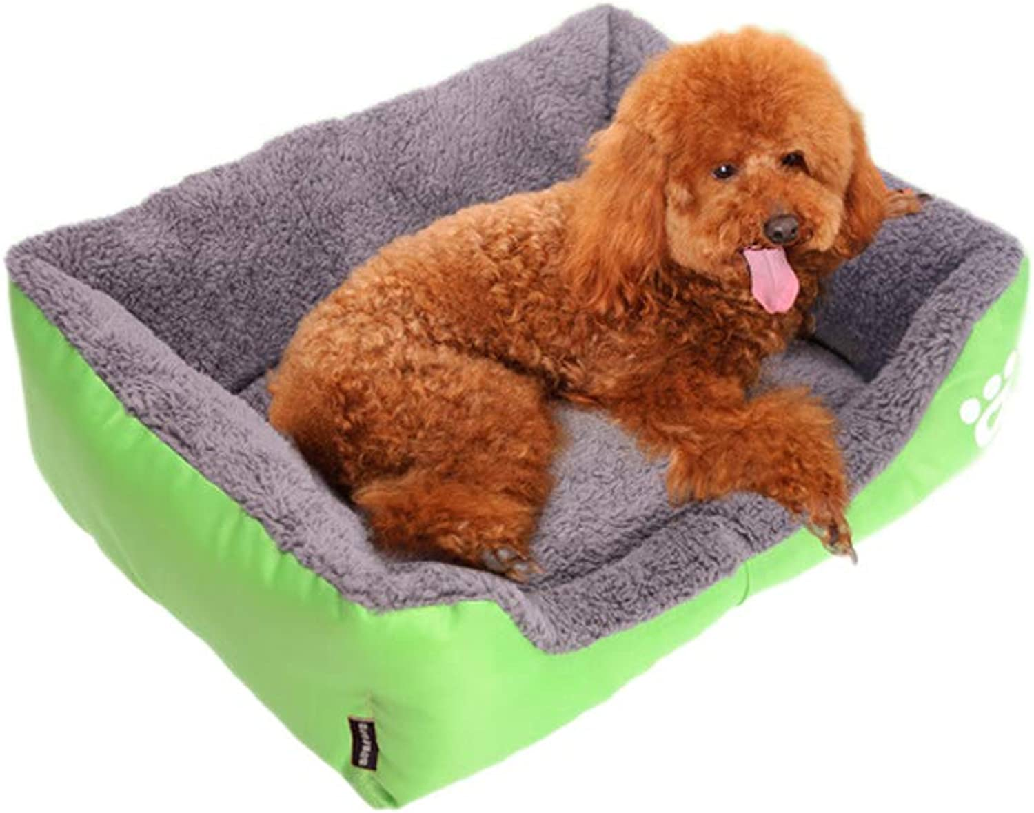 Dog Kennel Pet House Fall Winter Warm Pet Waterloo Teddy golden Retriever Dogs Bed Cushion Pussy Litter Pet Supplies Teddy Sofa Pet Bed Pet Waterloo (color   Green, Size   L)