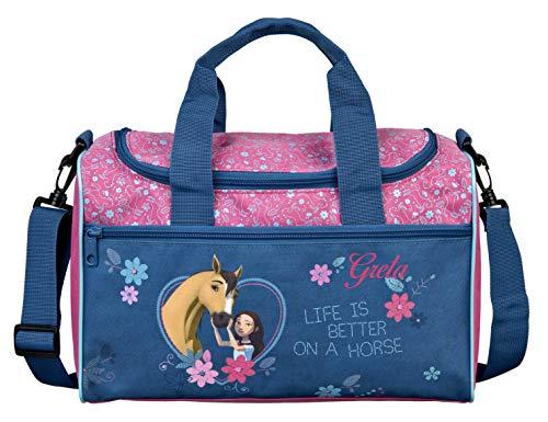 kleine Sporttasche mit Namen | inkl. NAMENSDRUCK | Motiv Spirit & Pferde in dunkel-blau | Personalisieren & Bedrucken | Reisetasche für Mädchen