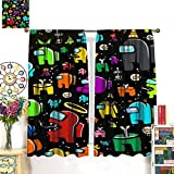 Petpany Among Us Game Artlimited Cortinas de barra resistentes al desgaste de 107 x 160 cm para cocina y cocina, para estar, comedor, dormitorio