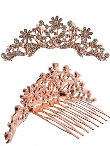 Topwholesalejewel Mini Tiara Princess Rhinestone Crown Hair Comb Rose Gold Plating