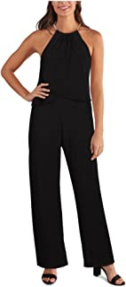 KENSIE Womens Black Sleeveless Halter Straight leg Evening Jumpsuit AU Size:4