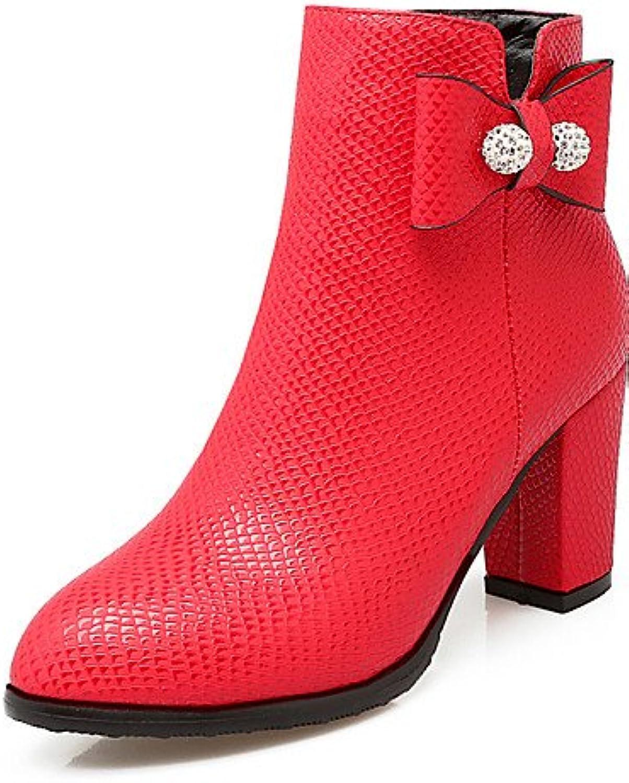 XZZ  Damen-Stiefel-Kleid   Lssig   Party & Festivitt-Glanz   Kunstleder-Blockabsatz-Spitzschuh   Modische Stiefel-Schwarz   Rot   Wei