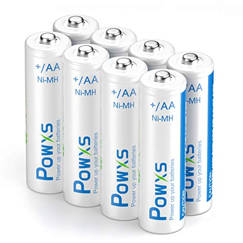 POWXS 1.2 Volt AA Batteries Rechargeable 2000mAh Double A Batteries Long-Lasting Ni-MH AA Rechargeable Batteries Suit for Household - 8 Pack