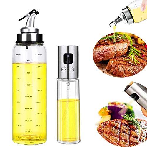 Nifogo Edelstahlölflasche, Öl Sprayer, Olivenölsprüher, Glas Flasche Essig Spender Küche Werkzeug Zerstäuber für Kochen Öl Sprühflasche Salat BBQ Pasta (Silber+White, Stainless steel + Glass)