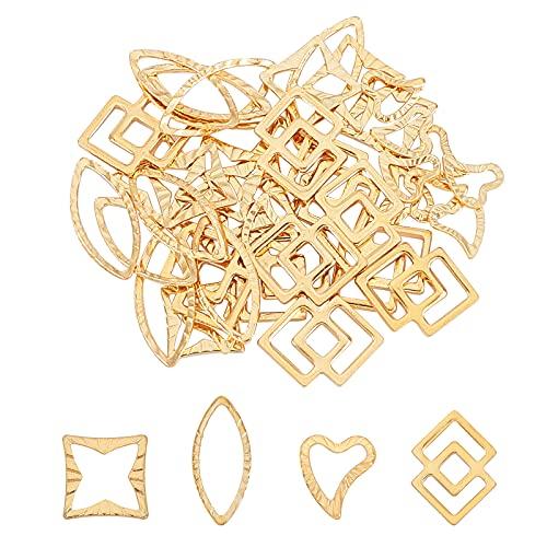 UNICRAFTALE 40pcs 4 Anillos de Enlace de Estilos Mixtos, Corazón de Acero Inoxidable/Cuadrado/Ojo de Caballo/Carpinteros de Filigrana Encantos de Enlace Anillos de Eslabones Dorados de Metal