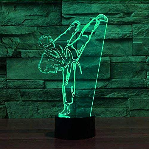 Creatieve 3D Taekwondo Nachtlampje 7 Kleuren Veranderende Usb Power Touch Schakelaar Decor Lamp Optische Illusie Lamp Led Tafel Bureaulamp Brithday Kinderen Kids Christmas Gift