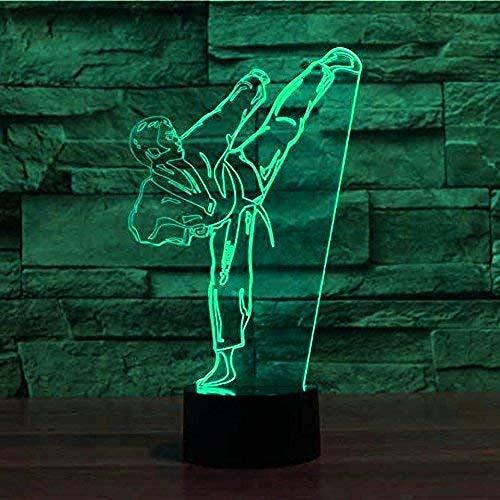 Creatieve 3D Taekwondo Nachtlampje 7 Kleuren Veranderende Usb Power Touch Schakelaar Decor Lamp Optische Illusie Lamp Led Tafel Bureaulamp Brithday Kinderen Kids Christmas Gift