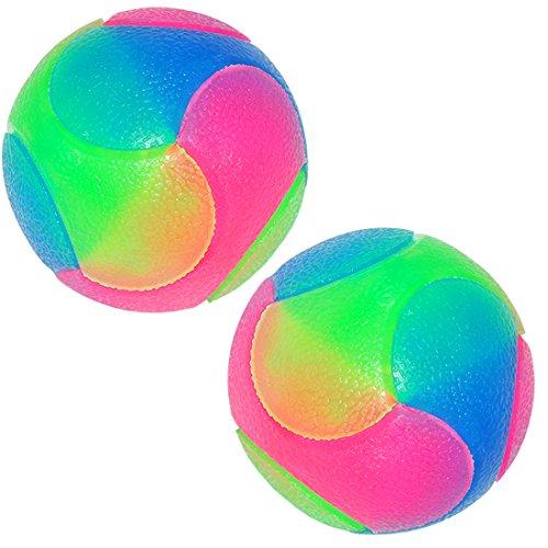 FineInno Blinkender Ball Hundespielzeug Ball Hundeball Leuchtend Glow Ball Hundespielball Ball Spielzeug für Hundes und Reinigen Sie Ihre Zähne (2 Stück Glatte Kugeln)