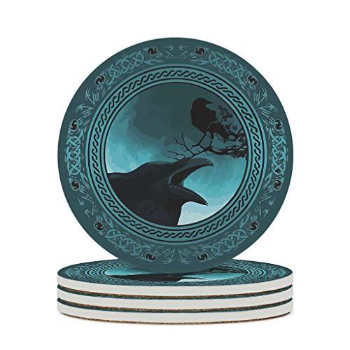 KittyliNO5 Posavasos redondos de cerámica vikingo, cuervo Odin Rabe Juego de 4/6 posavasos absorbentes con base de corcho redondo   10 cm blanco 6 unidades