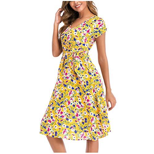 Vestido bohemio elegante con estampado floral y abertura lateral, cuello en V,...