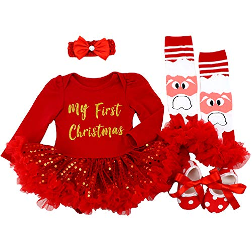BabyPreg Baby Girls My 1st Christmas Santa Costume Party Dress 4PCS (Red My First Christmas, 12-18 Months)