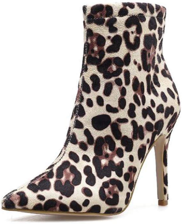 Leopard Print Ankle Stiefelie Frauen Sexy Pointed Pointed Pointed Toe 10,5 cm Stiletto Martin Stiefel OL Hof-Schuhe Eu Größe 34-40 798b6c