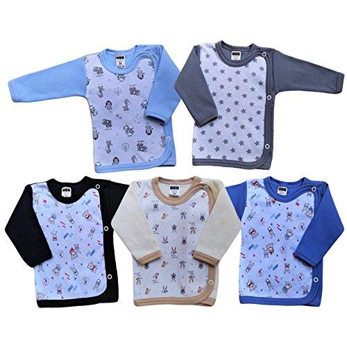 MEA BABY MEA BABY Baby Wickelshirt Langarm Baumwolle 5er Pack. Wickelshirt Baby Mädchen Wickelshirt Baby Junge (68, Jungen)