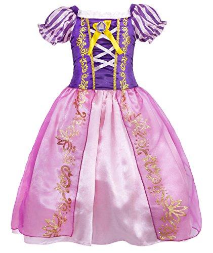 Jurebecia Vestido de Fiesta para Niñas Princesa Dress con Accesorios Halloween Fiesta de Cumpleaños