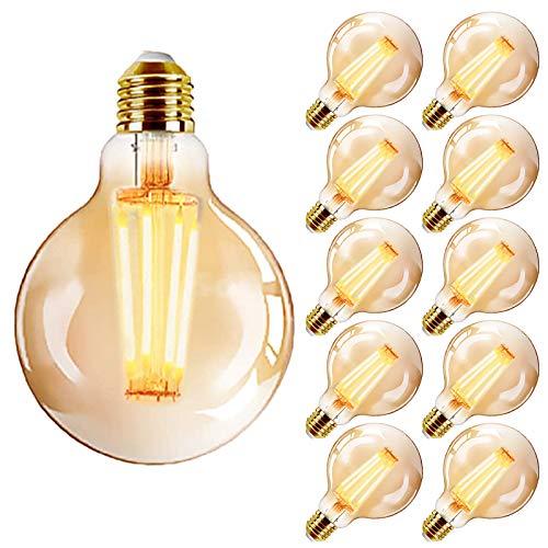 YDHNB 10 Stück E27 Dimmbar LED Leuchtmittel Filament Vintage in Birnenform, 4W (Ersetzt 40W) 2700K Warmweiß, Ideal für Nostalgie und Retro Beleuchtung im Haus Café Bar,10 pcs 110v,G95