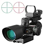DOTXX SFP 2.5-10X40 Rifle Scope and 1x22 Holographic Red Dot Sight Gun Scope Combo for Hunting Shooting, Red Green Reticle