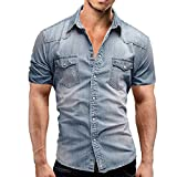 Jinyuan Camisa De Hombre De Moda Camisa De Mezclilla con BotóN Delgado para Hombre Casual Camisa De Manga Corta para Hombre con Bolsillos Azul Claro L