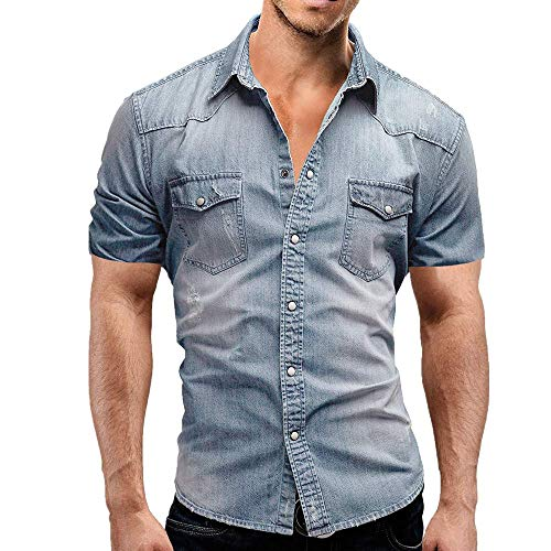 Jinyuan Camisa De Hombre De Moda Camisa De Mezclilla...