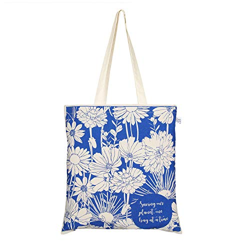 EcoRight Cotton Canvas Tote bag for Women, Reusable Grocery Bag, Printed Cute Bags, Shopping bag, Beach bags, Gift bags, Bridesmaids Tote Bags, Book Bag | Flowers | 0101A05
