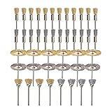 44 Piezas Mini cepillo de alambre Copa de rueda Copa de acero de latón Conjunto de cepillo de alambre de acero 1/8 pulgadas (m) Vástago para herramientas giratorias de alimentación puliendo buffi YUAN