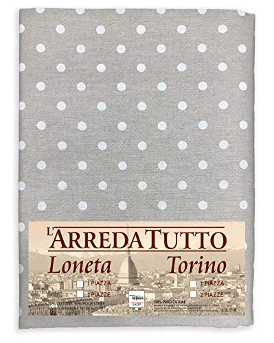 Tex family Tela decorativa cubretodo, gran foulard para cubrir la cama o el sofá, tejido Miros con lunares blancos - 1 plaza
