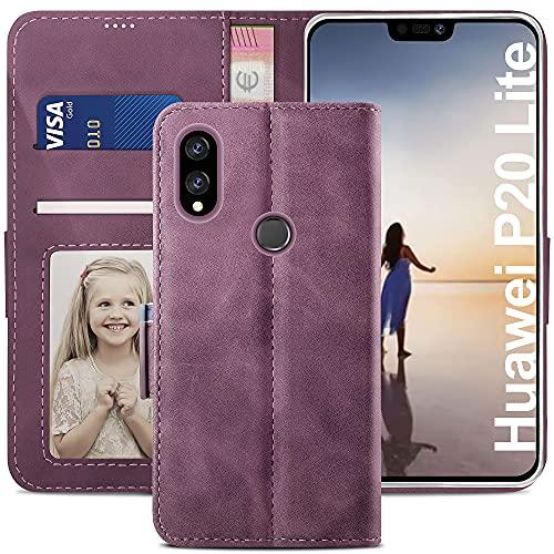 YATWIN Cover Compatibile con Huawei P20 Lite, Flip Custodia Portafoglio in Pelle Premium Slot, Interno TPU Antiurto, Supporto Stand, Stile Libro e Chiusura Magnetica per Huawei P20 Lite - Vino Rosso