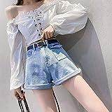 JJLESUN2Pantalones Cortos de Mezclilla de Pierna Ancha de Cintura Alta para Mujeres Bolsillos Pantalones Cortos de Jeans Mujeres Short Street Wear