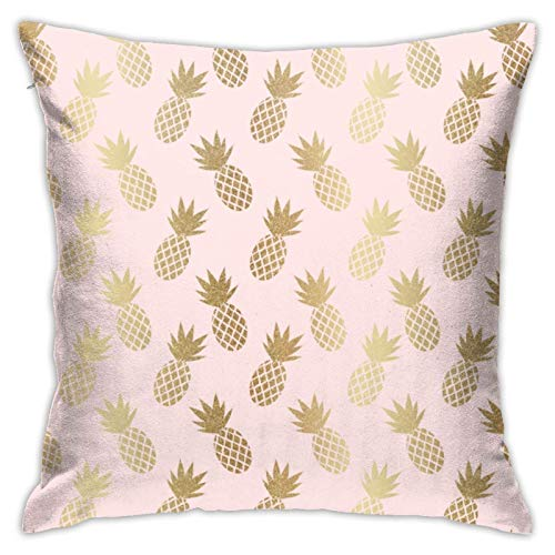 Funda de almohada decorativa con diseño de piñas rosa y dorado con cremallera, 45,7 x 45,7 cm