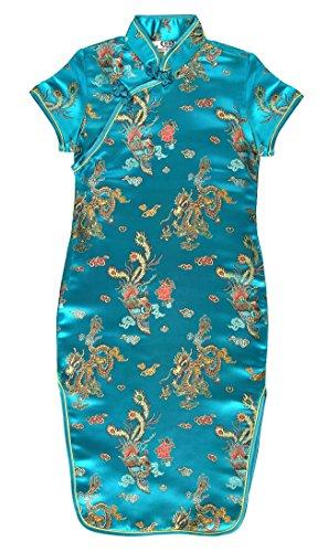 Laciteinterdite Vestido Chino para niña, Qipao tradicionale Turquesa Motivo Dragones 8 años