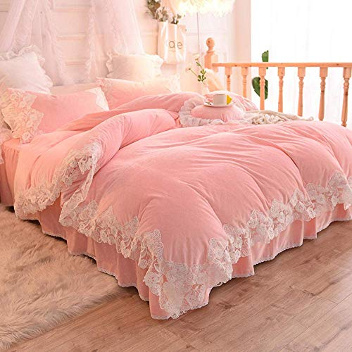 lqgpsx Fleece Duvet Set Double Teal,Winter Thick Double-sided Princess Style Girl Coral Velvet Four-piece Bed Skirt Quilt Cover