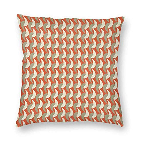 YUAZHOQI Decorative Throw Pillow Cover 18' x 18', Abstract Ornamental Elements Surreal Modern Artwork Pale Toned, Cushion Cover for Couch Sofa Bed, Vermilion Cream Sage Green