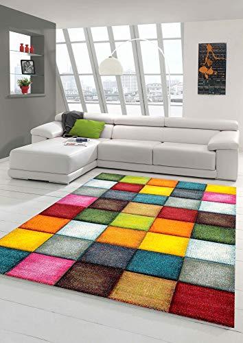 Teppich-Traum Alfombra Moderna Sala de Estar Diseño de Cuadros Colores múltiples Größe 80x150 cm