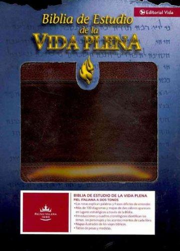 Biblia De Estudio De La Vida Plena (Spanish) Reina-Valera 1960 Marron / Marron Piel Italiana A Dos Tonos Biblia De Estudio De La Vida Plena