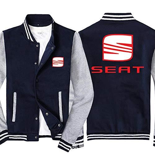 Männer Pullover Jacke - SEAT Printed Sweatshirt Baseball-Trikot Langarm-Zip Trainingsjacken - Teen Gift Blue Gray-XL