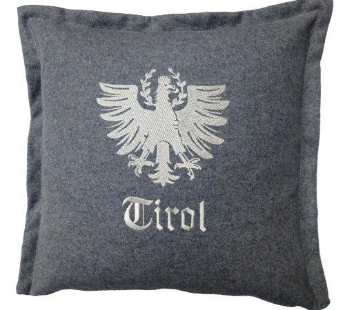 Tirol Living 54474 Kissenhülle Loden, Adler, Circa 40 x 40 cm grau