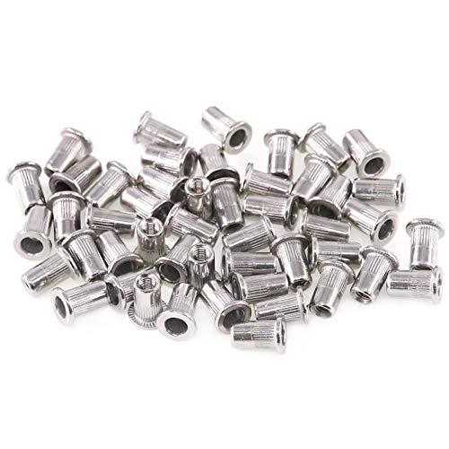 Keadic 50Pcs M6 Metric Rivet Nut Stainless Steel, Flat Head Threaded Insert for Automotive, Furniture, Decoration