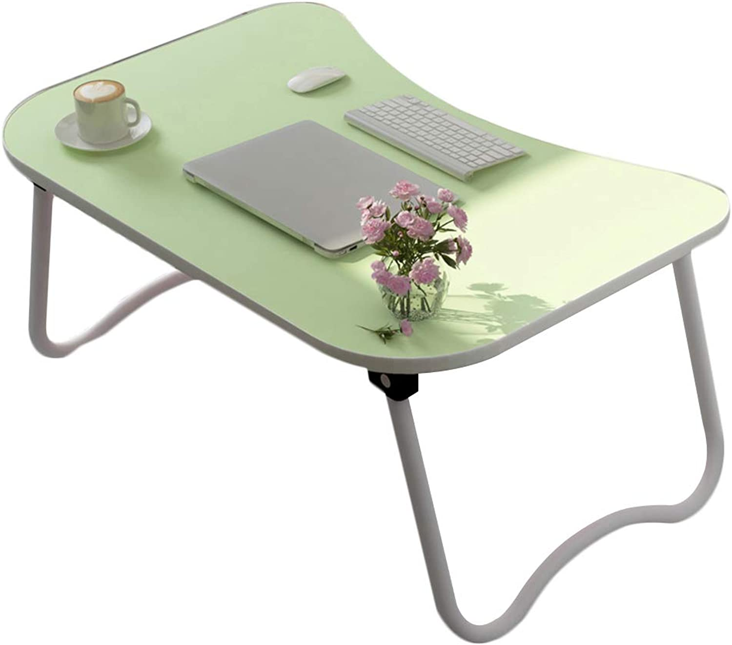 DQMSB Folding Table Dormitory Laptop Table Multi-Functional Bedroom Student Small Table Lazy Table (color   Green)