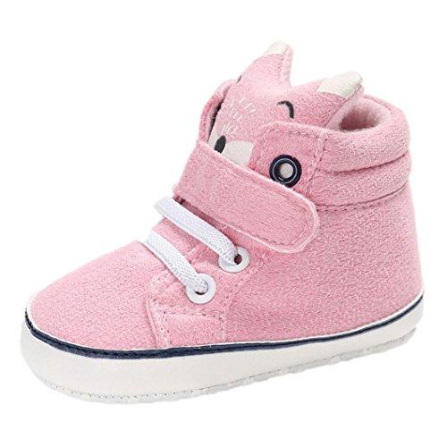 FNKDOR Baby Mädchen Jungen Fuchs Lauflernschuhe rutschfest Canvas Schuhe Stiefel (6-12 Monate, Pink)
