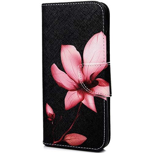 Bumina Huawei P30 Lite Hülle, Leder Flip Case Tasche Wallet Handyhülle Kunstleder Bookstyle Brieftasche Schutzhülle Handytasche Magnetisch Kartenfach Ständer Etui für Huawei P30 Lite Pinke Blume