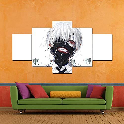 MWTWM Leinwanddrucke Bilder Wandkunst 5 Stück Tokyo Ghouls Gemälde Cartoon Home Decor Modernes modulares Poster für Wohnzimmerrahmen